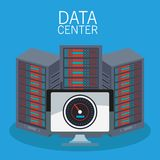 Data center technology. Data center storage and computer vector illustration graphic design Stock Photography