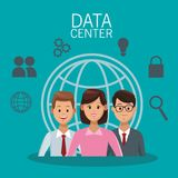 Data center technology. And business people vector illustration graphic design stock illustration