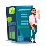 Data Center Vector. Hosting Server And Man. Storage Cloud. Network And Database. Isolated Flat Cartoon Illustration royalty free illustration