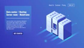 Data center, website hosting, server room rack, mainframe resource, datacenter, database, big data processing isometric. Vector icon Stock Images