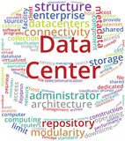 Data Center Word Cloud Text Illustration in shape of Server Rack. Stock Photo