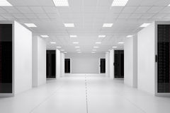 Data centre side view. 5 rows of racks Royalty Free Stock Photo