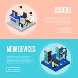 Data centre upgrading service isometric posters. Global communication network, cloud database coding and administration. Data center with hosting servers vector illustration