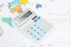 Data charts with calculator conceptual series Stock Image