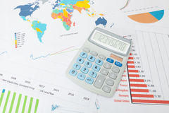Data charts with calculator series Stock Images
