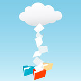 Data from cloud computing into file folders. Data files from cloud computing technology streaming into file folders Royalty Free Stock Photo