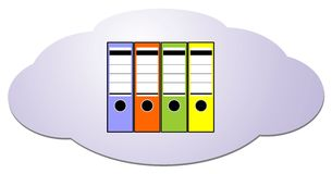 Data from cloud computing into file folders Royalty Free Stock Photos