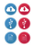 Data and cloud icons Stock Images