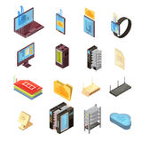Data Cloud Isometric Set. With files, transfer information, computer and mobile devices, server, router isolated vector illustrations Stock Image