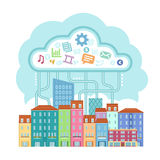 Data cloud. Over the small city,  illustration Stock Photography