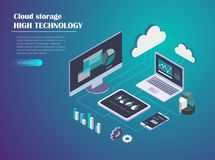 Data Cloud Storage Isometric illustration. Data Cloud Storage Network Isometric vector illustration. Computer, Laptop, Mobile phone,Tablet, hard drive connection Stock Images