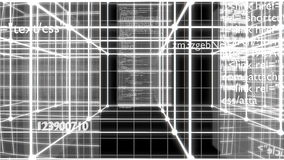 Data code in digital technology - black & white variant stock footage