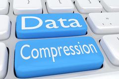 Data Compression concept. 3D illustration of computer keyboard with the script Data Compression on two adjacent pale blue buttons Royalty Free Stock Photography