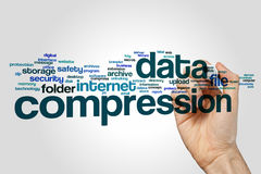 Data compression word cloud concept on grey background.  royalty free stock photos