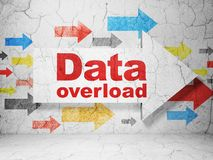 Data concept: arrow with Data Overload on grunge wall background. Data concept:  arrow with Data Overload on grunge textured concrete wall background, 3D Stock Images