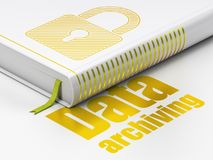 Data concept: book Closed Padlock, Data Archiving on white background Royalty Free Stock Photography