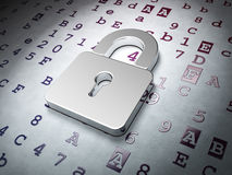 Data concept: Closed Padlock on Hexadecimal Code Royalty Free Stock Photo