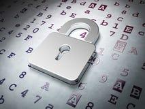 Data concept: Closed Padlock on Hexadecimal Code Royalty Free Stock Photo