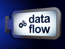 Data concept: Data Flow and Gears on billboard Royalty Free Stock Photo