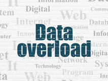 Data concept: Data Overload on wall background. Data concept: Painted blue text Data Overload on White Brick wall background with  Tag Cloud Stock Photo