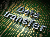 Data concept: Data Transfer on circuit board. Data concept: circuit board with word Data Transfer, 3d render Royalty Free Stock Images