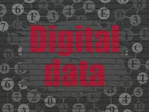 Data concept: Digital Data on wall background. Data concept: Painted red text Digital Data on Black Brick wall background with Scheme Of Hexadecimal Code Stock Photo
