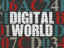 Data concept: Digital World on wall background. Data concept: Painted white text Digital World on Black Brick wall background with Hexadecimal Code Royalty Free Stock Photography