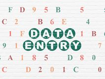 Data concept: Data Entry on wall background. Data concept: Painted green text Data Entry on White Brick wall background with Hexadecimal Code Stock Images