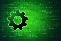 Data concept: Gear on green digital background with copyspace.  Royalty Free Stock Photos