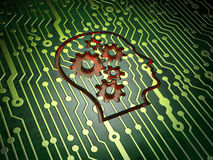 Data concept: Head With Gears on circuit board Royalty Free Stock Photography