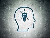 Data concept: Head With Lightbulb on Digital Paper Stock Image