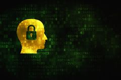 Data concept: Head With Padlock on digital background. Data concept: pixelated Head With Padlock icon on digital background, empty copyspace for card, text Royalty Free Stock Photo