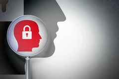 Data concept:  Head With Padlock with optical glass on digital background. Data concept: magnifying optical glass with Head With Padlock icon on digital Stock Images