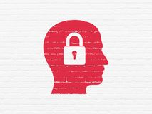 Data concept: Head With Padlock on wall background. Data concept: Painted red Head With Padlock icon on White Brick wall background Stock Images