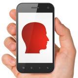 Data concept: Head on smartphone Stock Photo
