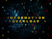 Data concept: Information Overload on Digital. Data concept: Pixelated yellow text Information Overload on Digital wall background with Binary Code, 3d render Royalty Free Stock Images