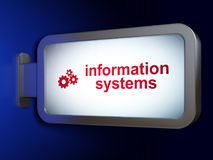 Data concept: Information Systems and Gears on billboard background Stock Photos