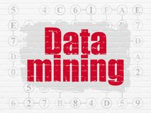 Data concept: Data Mining on wall background. Data concept: Painted red text Data Mining on White Brick wall background with Scheme Of Hexadecimal Code Stock Photography