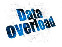 Data concept: Data Overload on Digital background. Data concept: Pixelated blue text Data Overload on Digital background Royalty Free Stock Image
