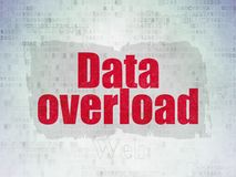 Data concept: Data Overload on Digital Data Paper background. Data concept: Painted red text Data Overload on Digital Data Paper background with   Tag Cloud Stock Image