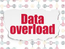 Data concept: Data Overload on Torn Paper background. Data concept: Painted red text Data Overload on Torn Paper background with Scheme Of Hexadecimal Code Stock Image