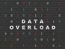 Data concept: Data Overload on wall background. Data concept: Painted white text Data Overload on Black Brick wall background with Binary Code Royalty Free Stock Image