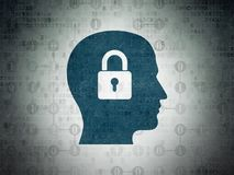 Data concept: Head With Padlock on Digital Data Paper background. Data concept: Painted blue Head With Padlock icon on Digital Data Paper background with Scheme Stock Images