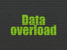 Data concept: Data Overload on wall background. Data concept: Painted green text Data Overload on Black Brick wall background Royalty Free Stock Image