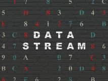 Data concept: Data Stream on wall background. Data concept: Painted white text Data Stream on Black Brick wall background with Hexadecimal Code Royalty Free Stock Photo