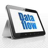 Data concept: Tablet Computer with Data Flow on display Royalty Free Stock Image