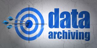 Data concept: target and Data Archiving on wall background Stock Images