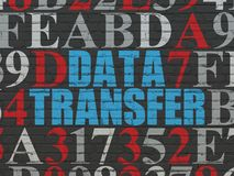 Data concept: Data Transfer on wall background. Data concept: Painted blue text Data Transfer on Black Brick wall background with Hexadecimal Code Stock Images