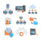 Data Connection Icons Set Cloud Computer Protection Hosting Server Database Synchronize Technology Concept Stock Photography