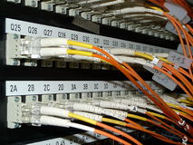 Data connections. Fiber cables connected with a san switch Royalty Free Stock Photography